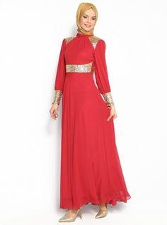 Sequined Chiffon Evening Dress - Red - MODAYSA