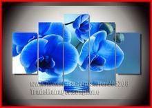 çerçeveli 5 paneli büyük mavi orkide yağlıboya tuval modern duvar sanatı çiçek resmi ev dekorasyonu xd03303(Hong Kong)