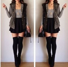 a skirt and striped shirt with black thigh-highs? classic combo. love the vest