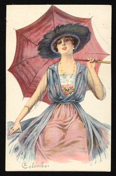 Postcard, ca. 1920. Woman holding a pink umbrella.