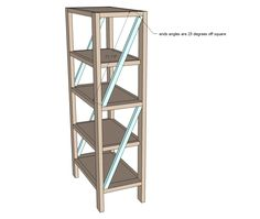 Build your own rustic bookshelf with our free plans. Features four large shelves and x detailing on the ends. Step by step plans from Ana White Bookshelf Plans, Industrial Bookshelf, Bookshelf Diy, Diy House Projects, Diy Wood Projects, Ana White, Woodworking Books, Woodworking Projects, Romwe