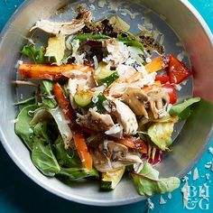 Roast a mix of Mediterranean-diet-friendly veggies to give this salad recipe huge flavor. A simple dressing of vinegar, Italian seasoning, and oil is all you need to round out the flavors.