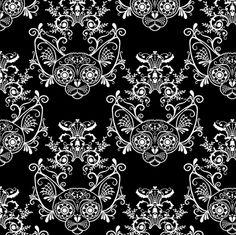 Black with White Damask Sugar Skull Sphynx Cats fabric by glamourpuss on Spoonflower - custom fabric