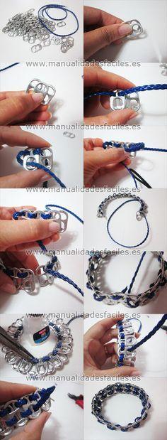 Bracelet made out of soda can tab Soda Tab Crafts, Can Tab Crafts, Bottle Cap Crafts, Ring Crafts, Jewelry Crafts, Handmade Jewelry, Pop Top Crafts, Pop Tab Bracelet, Diy Bracelet