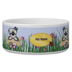 Hanging Around Dogs - Customize Name Dog Water Bowl