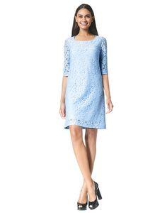 Norah - light blue - Kanten A-lijn jurk | LaDress
