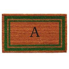 Momentum Mats Green Border Monogram Doormat (1'6 x 2'6), Beige