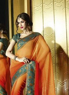 orange-and-faux-georgette-print-sarees-printed-sarees-