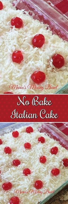 This No Bake Italian Cream Cake is like heaven in your mouth! And you don't even have to turn on the oven to make it! Easy and Delicious is always the best! You're going to want to share this one! Best Dessert Recipes, No Bake Desserts, Easy Desserts, Sweet Recipes, Cake Recipes, Simple Recipes, Delicious Recipes, Italian Cream Cakes, Italian Cake