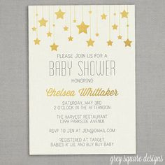 Baby Shower Invitation Gold Stars by GreySquare on Etsy Picture Invitations, Gold Invitations, Baby Shower Invitations For Boys, Baby Shower Printables, Christening Invitations, Shower Party, Baby Shower Parties, Juegos Baby Shower Niño, Baby Shower Pictures
