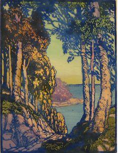 A Corridor South 1932 by Frances Hammell Gearhart (b. Woodcut Art, Linocut Prints, Art Prints, Block Prints, Big Bear Lake, Landscape Art, Landscape Paintings, Landscapes, Wood Engraving