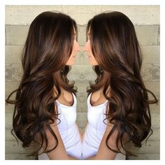 Long Curled Chocolate Brown Hair with Caramel Highlights ❤ liked on Polyvore featuring beauty products, haircare and hair styling tools