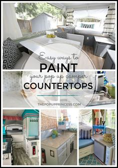 Easy Ways to Paint Your Pop Up Camper Countertops Refinishing your countertops can completely change the look of your camper. Here are a few easy ways to give your pop up countertops a facelift using paint. Popup Camper Remodel, Camper Renovation, Diy Camper, Camper Ideas, Rv Interior Remodel, Pop Up Princess, Countertop Makeover, Pop Up Trailer, Nailart
