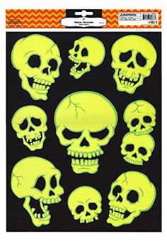 spooky skulls glow in the dark halloween window clings wi https - Halloween Window Clings