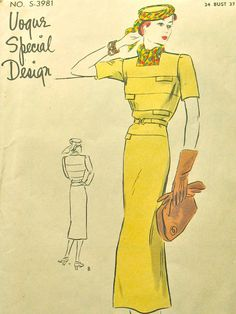 Vogue Special Pattern.  Vintage late 30s or early 40s sewing pattern. Bust 34 and Hip 37 inches..via Etsy.