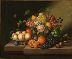 Attributed to JOHANN GEORG SEITZ(German 1810-1870) Fruit Still Life with Butterfly