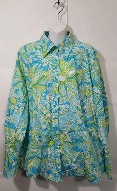 6442d19b2 Lane Bryant Plus 22 24 Button Down Shirt long sleeve Blue Mod Floral print  EUC