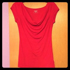 Express Red Top Sexy red cowl-neck top by Express. Size XS but is very stretchy and could easily accommodate a size small. Good gently used condition. Comes from a smoke-free home. Express Tops Tees - Short Sleeve
