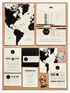 gorgeous black and white map invitations with elegant typography