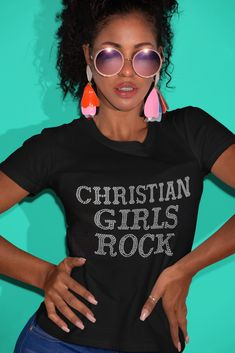 """Christian Girls Rock"" Tee Christian Tees, Christian Girls, Christian Clothing, Rock Tees, Silhouette Cameo, Shirt Designs, Just For You, Sayings, Lady"