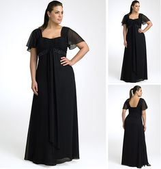 Short Sleeve Empire Waist Black Chiffon Long Plus Size Formal Dress US $107.00