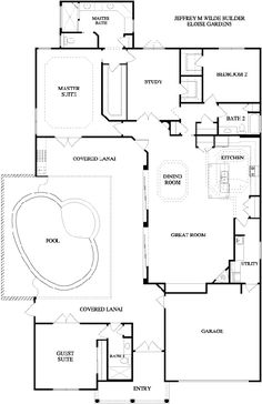 Plan 82034KA Home Plan With Courtyard and Guest Cabana Cabana