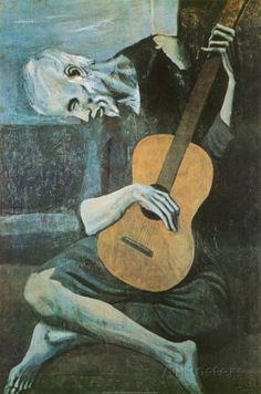 """The use of a cool, monochromatic color scheme brings forth the feeling of sorrow.    """"The Old Guitarist"""", c.1903 Prints by Pablo Picasso"""