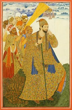 Procession of Sultan Ibrahim 'Adil Shah II Artist: Bikaner Painter Object Name: Album leaf, illustrated Date: ca. 1595 Geography: India, Deccan, Bijapur Culture: Islamic Medium: Ink, opaque watercolor, and gold on paper Dimensions: 6 5/16 × 9 13/16 in. (16 × 25 cm) Classification: Codices Credit Line: Private Collection, London