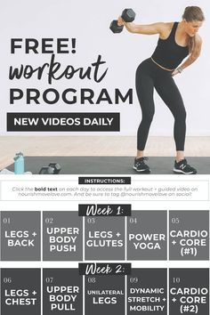 Take your strength training to the next level with this FREE Workout Program: SplitStrong 35! A 2-week, FULLBODY workout plan with new workout videos DAILY on YouTube. A 5 day workout split, 35-minutes a day, 5-days a week. All you need is a set of dumbbells to complete this full body workout plan at home. SplitStrong 35 is a free workout program for women that delivers results. After two kids, I'm currently the strongest I've ever been; thanks to this free workout program! Two Week Workout, Leg And Back Workout, 5 Day Workout Plan, 5 Day Workouts, Full Body Workout Routine, Workout Guide, Workout Videos, Dumbbell Ab Workout, Push Workout