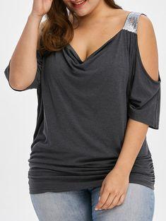 70c483f78fc Plus Size Cold Shoulder Sequined Trim T-Shirt - MOUSE GREY 2XL Plus Size  Blouses
