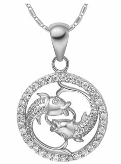 Women's Twelve Constellations Crystal Silver Plated Pendants & Chain