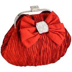 Satin Bow Pleated Rhinestones Brooch & Clasp Frame Baguette Clutch Evening Bag Handbag Purse w/2 Hidden Chains $42.50
