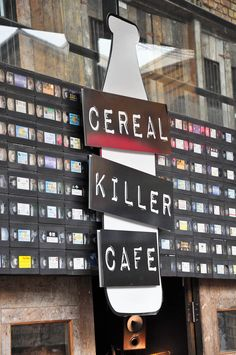The fascia of the Cereal Killer Cafe, The Stables Market, Camden Town, London, England