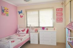 Girls bedroom - organising tips. Love the dresser-as-toy-storage idea.