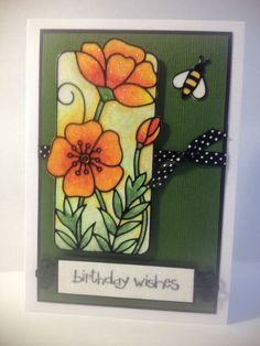 handmade birthday card ... luv the microfine glitter colored with Copics ... sparkly shimmer all over ... orange flowers and lots of green ... Elizabeth Craft sticker ... delightful card!!