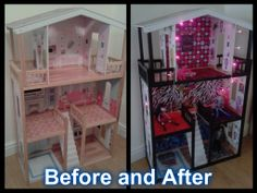 DIY Monster High House, transformed my daughters unused Barbie house into this! She loves it!