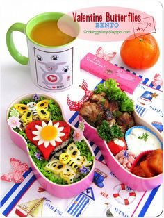 Valentine Butterflies Bento by Cooking-Gallery, via Flickr