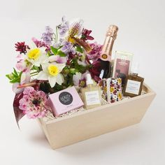 Midnight Beauty Gift Box with Flowers + Rosé Champagne