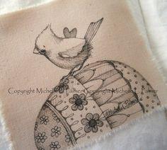 Original Pen Ink on Fabric Illustration Quilt Label by Michelle Palmer Cardinal Bird Songbird Spring Easter Eggs