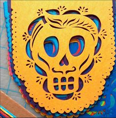 Dia de Los Muertos (2-Pack) Papel Picado Mini Banners . MUERTITOS Day of the Dead . Sugar skulls