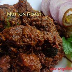 mutton roast - Delicious Kerala style mutton roast recipe with secret spice mix. Pressure Cooker Roast, Pressure Cooker Chicken, Lamb Recipes, Roast Recipes, Cooking Recipes, Mutton Meat, Appetizer Recipes, Dinner Recipes, Roast Lamb Leg