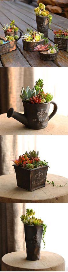 European Vintage Brown Flower Pot Planter Plants Basket Vase Home Garden Floor Desktop Decoration