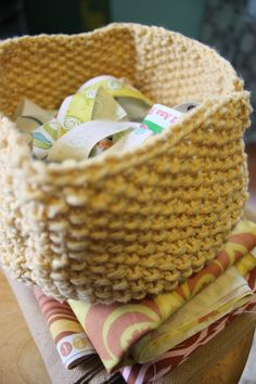 A knit basket. How cute!
