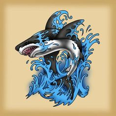 Every tattoo could have a different meaning depending with the symbol which has been used as the principal component in the tattoo. Shark tattoo is usually employed by men. Shark tattoos are a few of the most coveted body arts… Continue Reading → Shark Illustration, Illustration Vector, Vector Art, Traditional Shark Tattoo, Traditional Tattoo Design, Tattoo Sketches, Tattoo Drawings, Hai Tattoos, Tatuagem Old Scholl