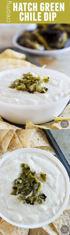 Tangy, creamy and full of green chile flavor, this Creamy Hatch Green Chile Dip is a must when fresh Hatch green chiles are in season. Grab the tortilla chips and start dipping!: