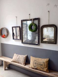 I find myself liking this.for entry of wall in a color of paint and second color, wood bench, burlap french pillows. - Home Decoz Narrow Bench, Half Painted Walls, French Pillows, Mirror Gallery Wall, Wall Of Mirrors, Hanging Mirrors, Decoration Entree, Shabby Home, Ideas Hogar