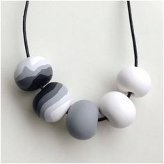 Black, Grey & White Polymer Clay Necklace