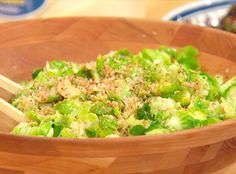 Yum! When our two favorite vegetables combine--Brussels Sprouts Caesar Salad Thanksgiving Recipe