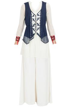 Navy double layer jacket with white tunic and palazzo available only at Pernia's Pop-Up Shop.