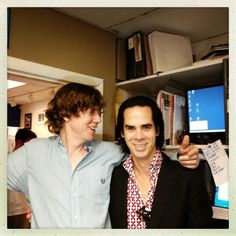 Nick Cave and Thurston Moore at the back of Waterloo Records in Austin, Texas, SXSW The Bad Seed, Nick Cave, Thing 1, Men's Collection, Music Bands, Singer, Actresses, Austin Tx